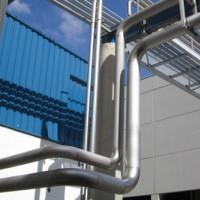 Celda en tubo de acero inox cuadrado 60/60/15 AISI 304mate. Para la sujección y soportación aérea de tubería de 104